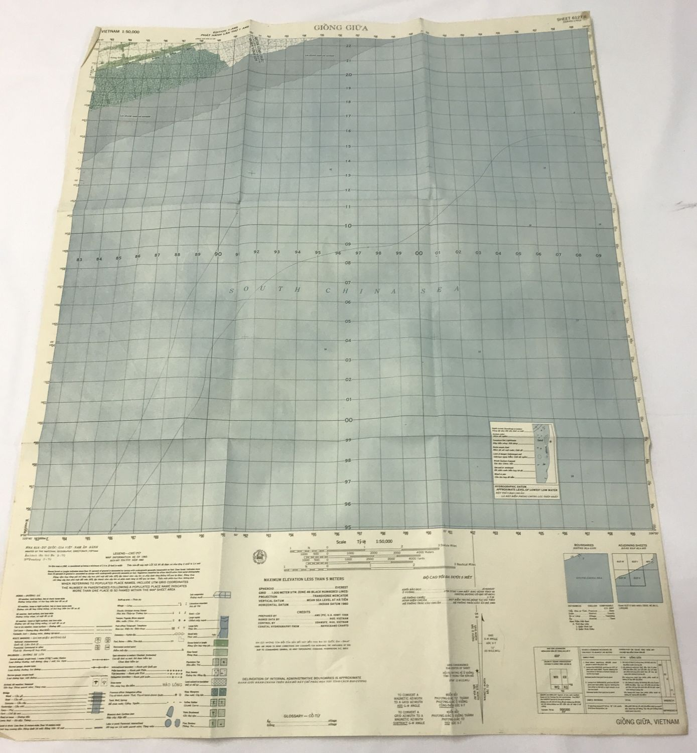 Lot 188 - A Vietnam war style military map of the Giong Giua province.