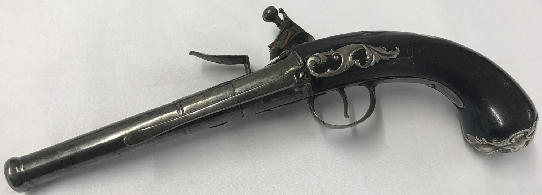 Lot 169 - A pair of antique Queen Anne flintlock belt-pistols c 1760, 20 bore.