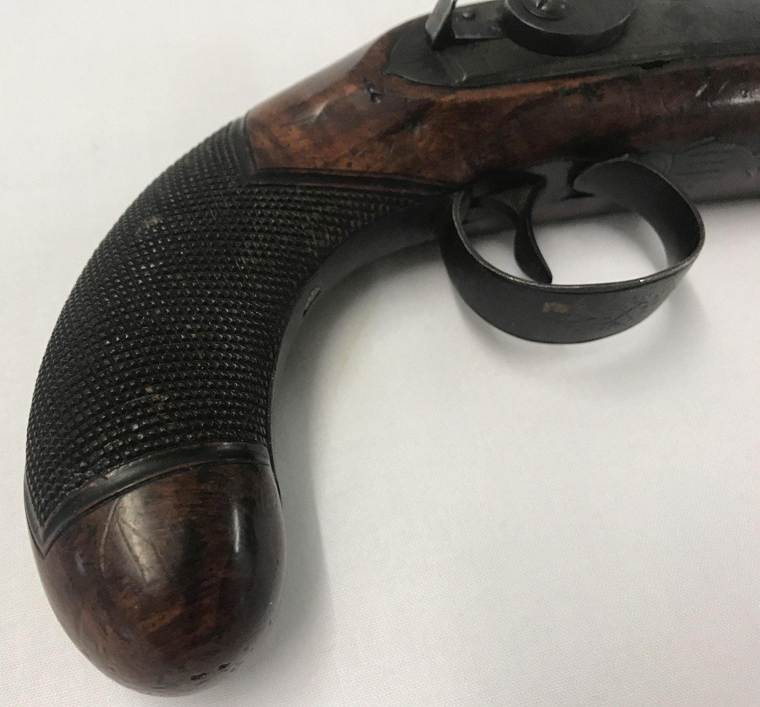 An antique percussion overcoat 20 bore pistol c 1835. - Image 2 of 5