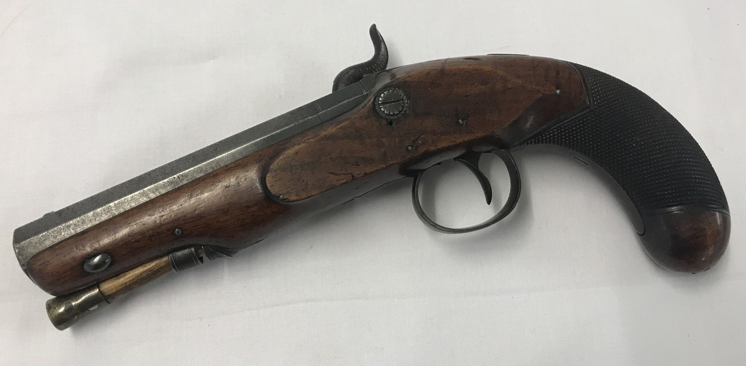 An antique percussion overcoat 20 bore pistol c 1835. - Image 5 of 5