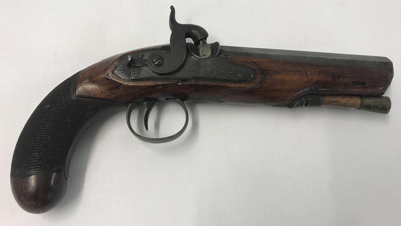Lot 172 - An antique percussion overcoat 20 bore pistol c 1835.