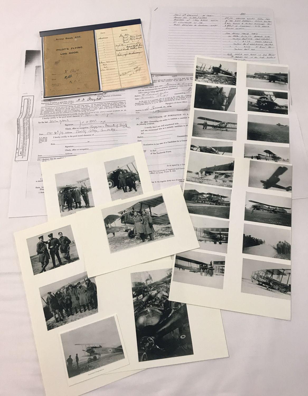 Lot 191 - WWI RFC/RAF interest copied Pilot's Logbook, copied photos and other copied paperwork.