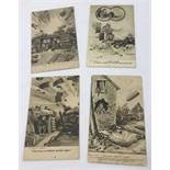 6 original WWI Bruce Bairnsfather postcards with one message written on reverse in 'code'.