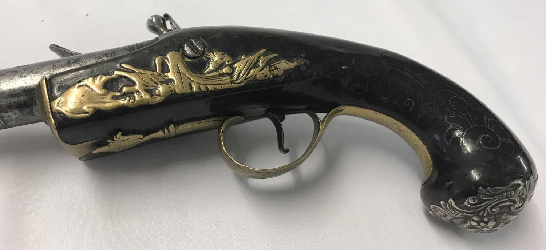 Lot 170 - A rare antique flat Queen Anne flintlock 18 bore pistol c 1720.