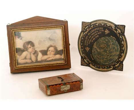 A Phillips Planisphere, a key box with printed angelic lid and a sweet tin (3)