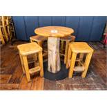 "ROUND PUB TABLE WITH FOUR STOOLS DIAMETER 34"" H 42 1/2"""