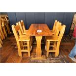 "PUB TABLE WITH FOUR CHAIRS TABLE L 48"" W 29 1/2"" H 41"""