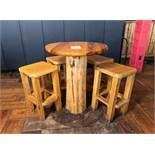 "ROUND PUB TABLE WITH FOUR STOOLS H-42"" D-34"""