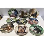 Collection of 9 decorative wall plates, 8 x river shore dog plates by Jim Lamb from the good