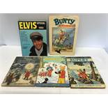 Collection of 5 assorted annuals. Elvis Special 1964, Bunty and 3 Rupert Bear annuals, 1974.