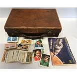 Small leather case 36cms w x 23cms x 10cms with Brooke Bond tea cards and Nabisco gum cards,