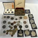 British copper and brass coin collection, Penny's, Threepence's and some foreign coins, with Royalty