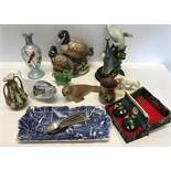 Ornaments selection inc Canada Geese by Andrea, Aynslet common seal. painted glass vase, papier