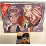 Marilyn Monroe print, 42cms x 30cms with DVD and a Norma Jeane 2000 wine bottle label.