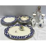 Alfred Meakin Wentworth pattern dinner dinner ware 6 plates, 1 meat plate and 1 tureen, Nao