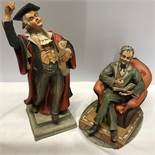 Two Capodimonte figures, both a/f, seated gentlemen, broken pipe in hand, marked to back - 100 Maria