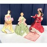 Three ceramic ladies including Royal Doulton Lesley HN 2410, Patricia HN3365 and Royal Worcester,