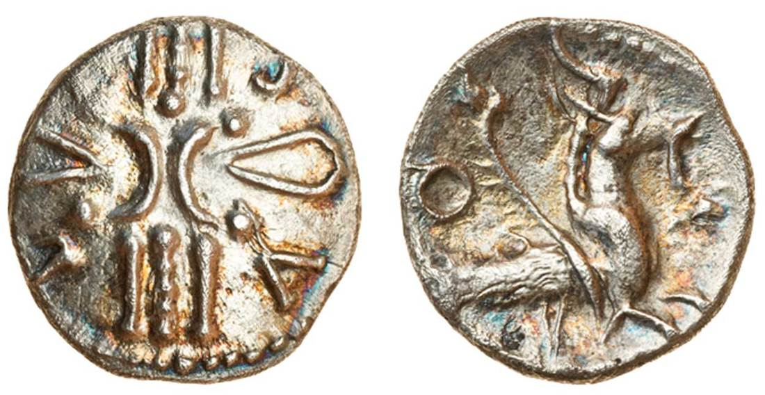 Lot 326 - Celtic, Trinovantes and Catuvellauni, Tasciovanus, (c.25 BC-AD 10), silver Unit, 1.26g, '
