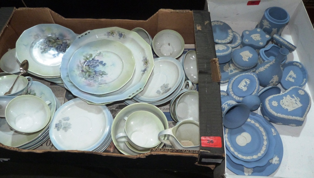 Lot 26 - A box of Wedgwood blue jasparware and a box of teaware marked B H A
