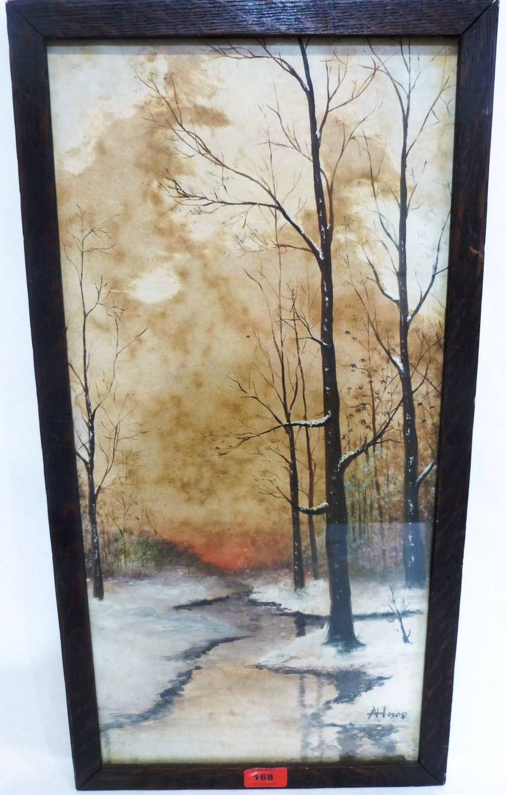Lot 168 - AFTER ADOLF HITLER. 1889 - 1945 A woodland stream in winter. Bears signature initials 'AH' and dated