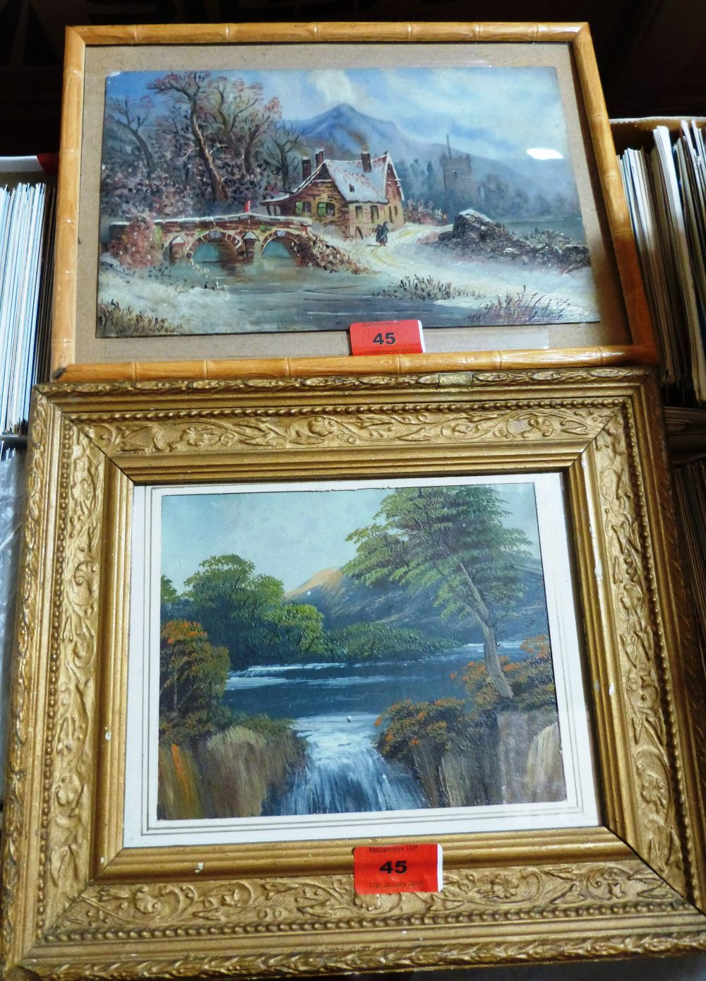 Lot 45 - Two small landscape oils on glass . Framed.
