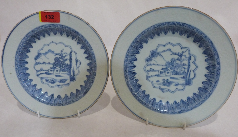 A pair of 19th century Chinese blue painted plates. 9' diam