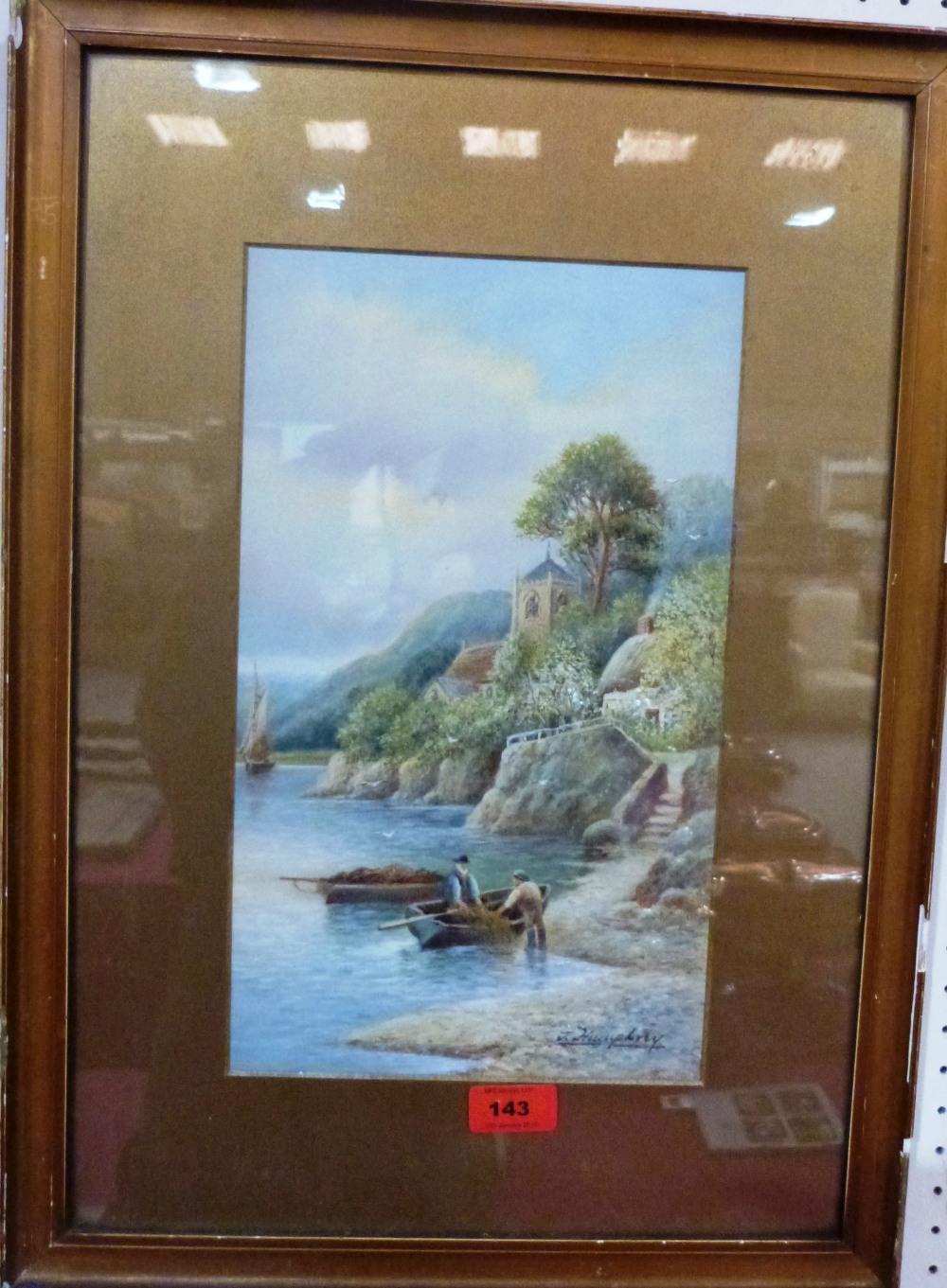 Lot 143 - J. HUMPHREY. BRITISH 20TH CENTURY Lake scene with fishermen. Signed. Watercolour 14' x 8'