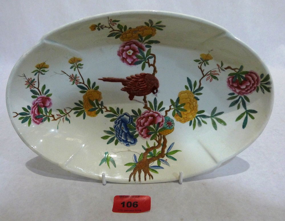 A Copeland Spode ovoid dish painted in coloured enamels with bird and foliage. 11' wide. c.1785