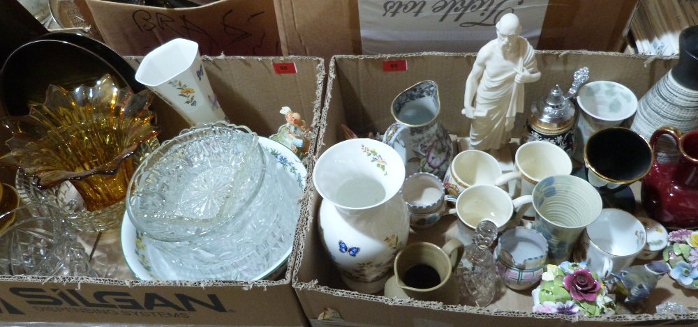 Two boxes of miscellaneous ceramics and glassware