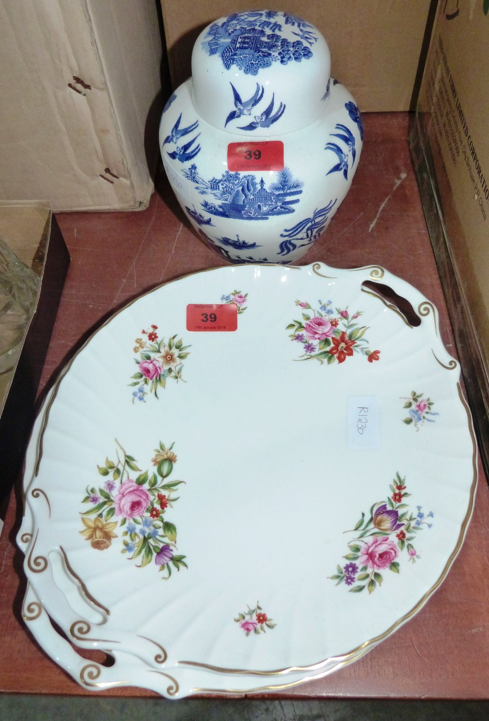 Lot 39 - A pair of Royal Worcester 'Witley Garden' trays and a Coalport 'Willow' jar and cover