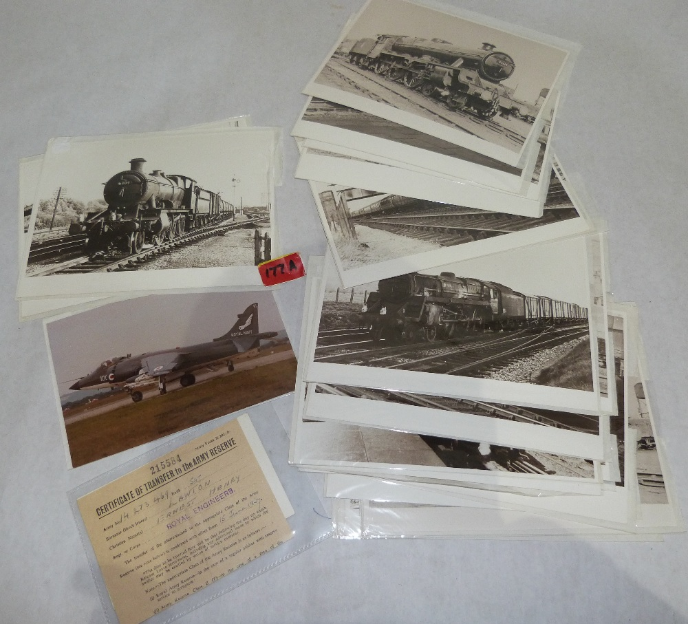 A collection of locomotive photographs, 1950s-1960s, a photograph of a Harrier jet and an army
