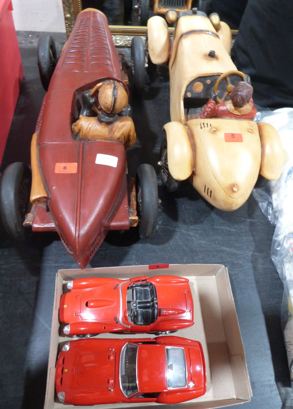 Lot 8 - Two diecast Ferrari models and two resinous model cars