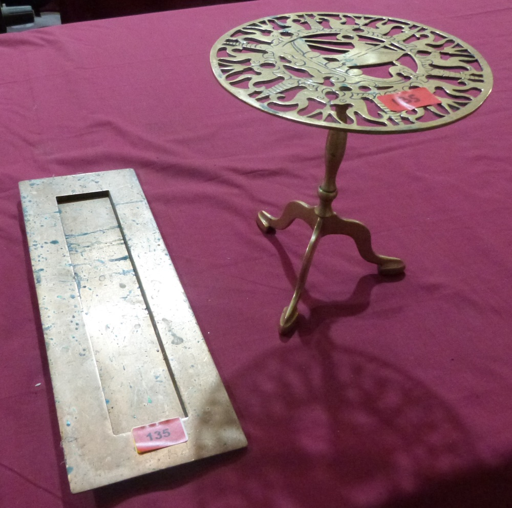 Lot 135 - A brass letterbox aperture and surround together with a miniature brass tripod table