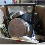 A box of metalware and sundries