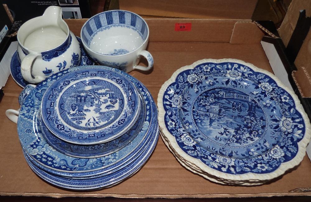 Lot 23 - A box of blue and white ceramics, Copeland Spode etc.