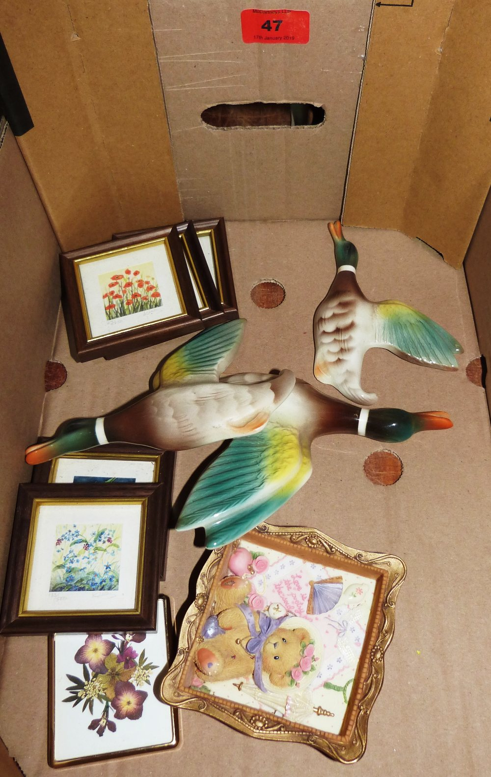 Lot 47 - Three graduated Keele Street Pottery flying ducks and other objetcs