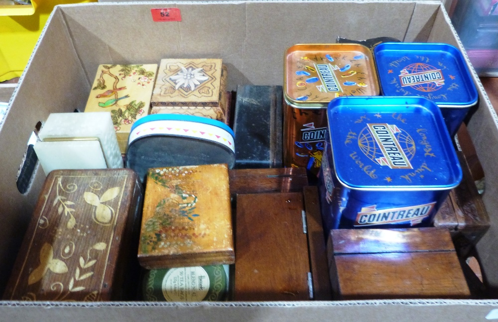 Lot 52 - A collection of treen boxes and tins