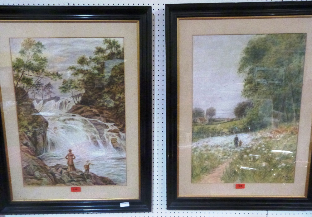 ENGLISH SCHOOL. 20TH CENTURY Landscapes with figures. A pair. Signed initials and dated 1926. Pastel