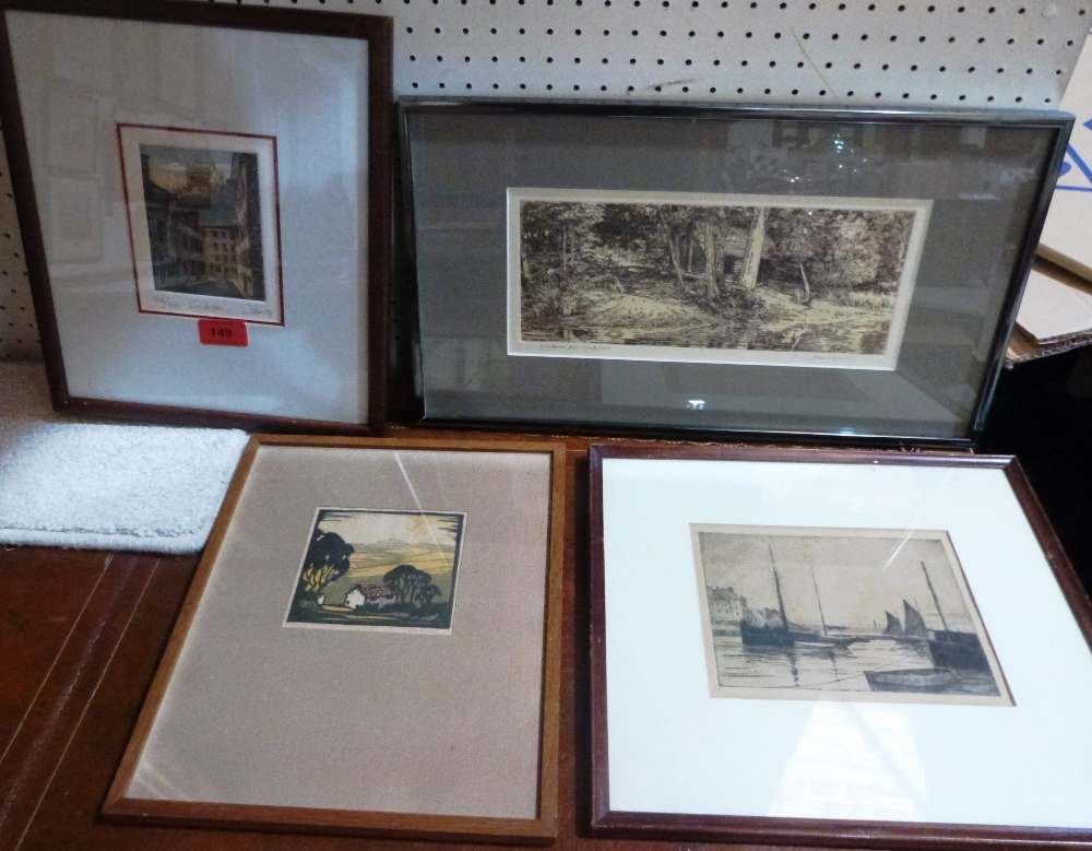 A woodcut and three etchings