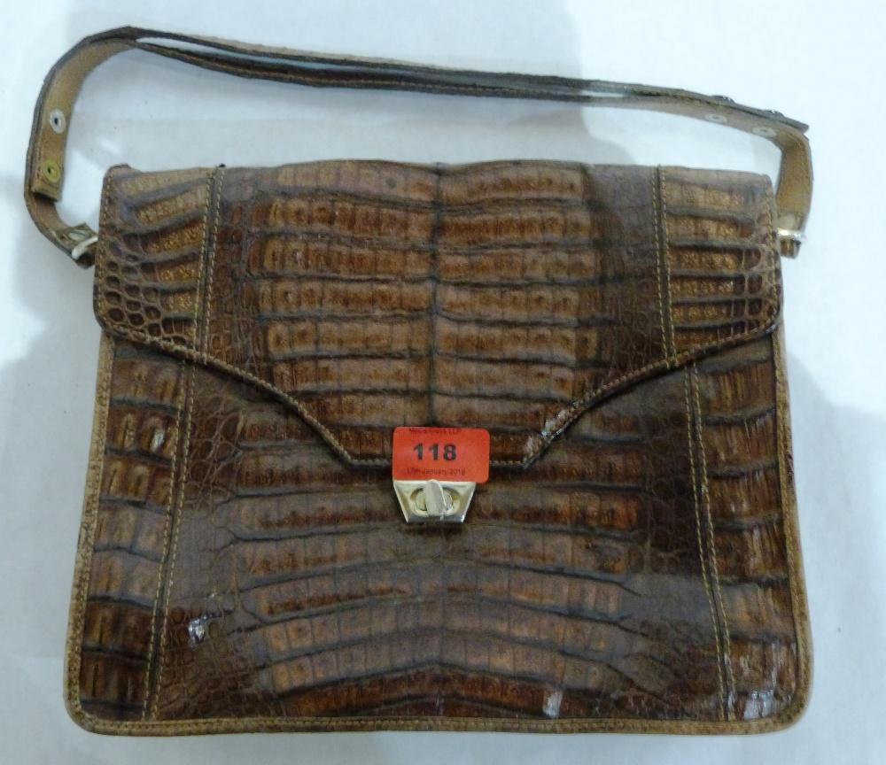 A vintage leather handbag