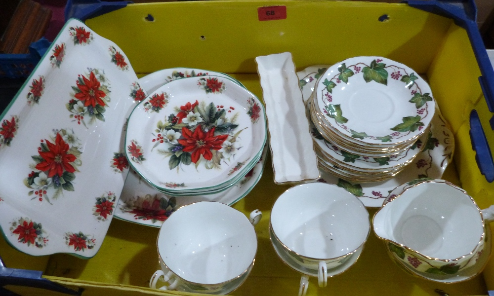 A 19 piece tea service by Adderley China 'Holly and Ivy' and six pieces of Christmas china