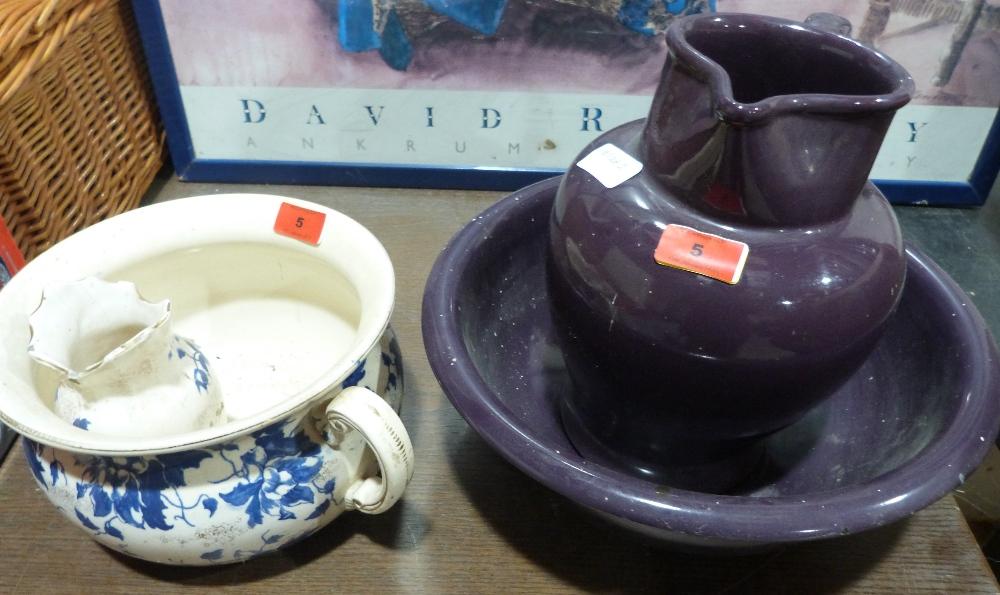 Lot 5 - A Bourne Denby jug and bowl, chamberpot etc.