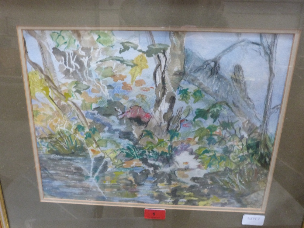 Lot 1 - OLGA STEPHENS Edge of the pond. Signed. Watercolour 12' x 16'