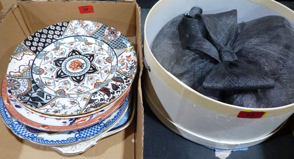 Lot 13 - A fascinator hat and a quantity of Mason's and other plates