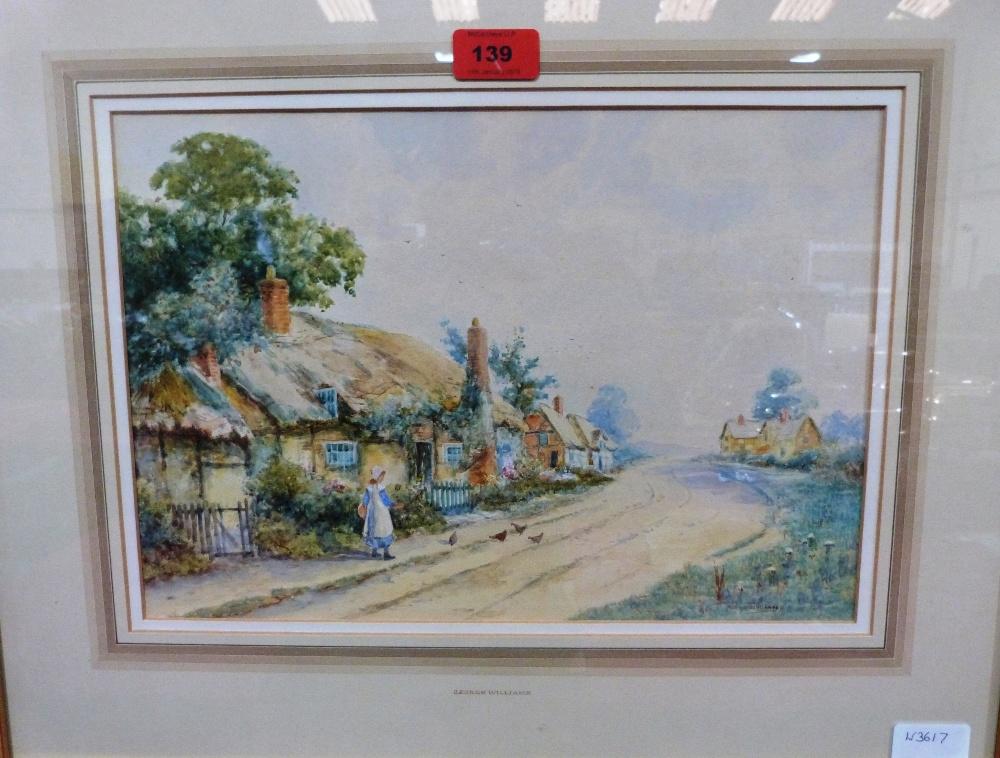 GEORGE WILLIAMS. BRITISH 20TH CENTURY. Village scene with figure. Signed. Watercolour. 9 1/2' x 14'