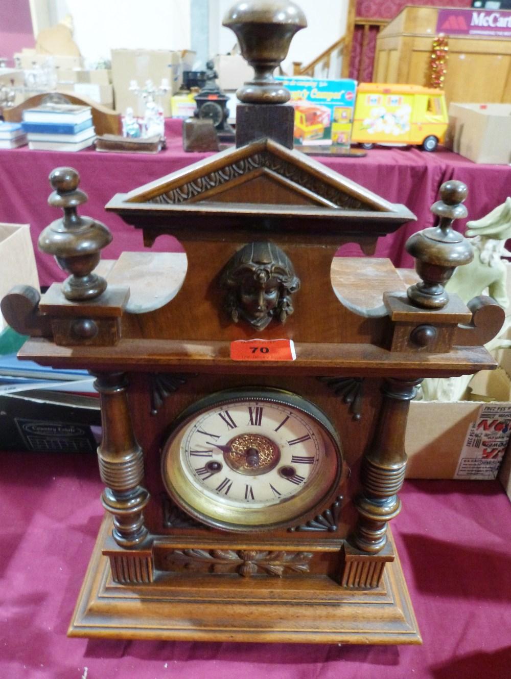 A walnut mantle clock. German c.1910. 20' high