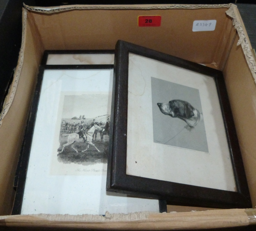Lot 28 - Four small hunting engravings and a print of a hound
