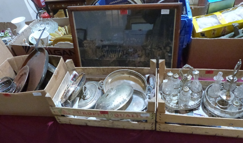 A box of copper and brassware, a quantity of plate and a framed engraving