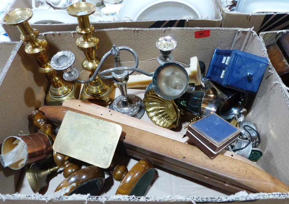 A box of wood and metalware