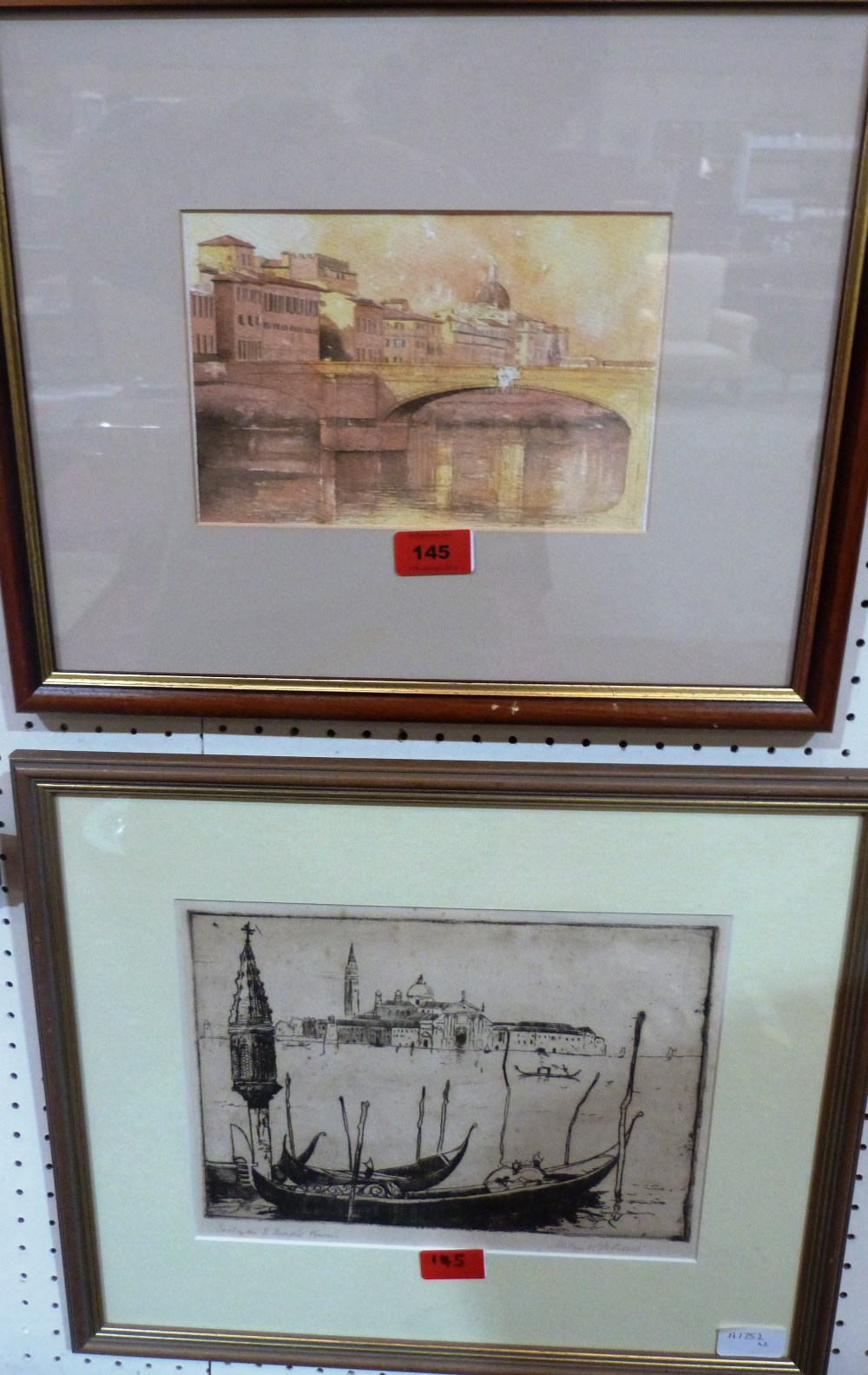 A watercolour of Florence signed Piraino, 5 1/2' x 8 1/2' and an etching of Venice signed Milan